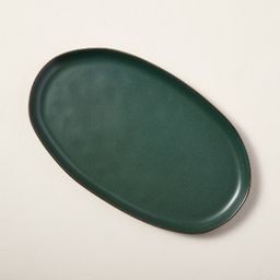 Stoneware Exposed Rim Oval Serving Platter Matte Dark Green - Hearth & Hand™ with Magno...   Target