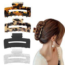 Aaiffey 4PCS Hair Claw Clips, Non-Slip Tortoise Hair Jaw Clips, Leopard Stylish Hair Clamps,Stron...   Amazon (US)