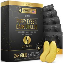 24K Gold Eye Mask– 20 Pairs - Puffy Eyes and Dark Circles Treatments – Look Less Tired and Re...   Amazon (US)