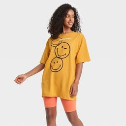 Women's SmileyWorld Short Sleeve Graphic T-Shirt Dress - Yellow   Target