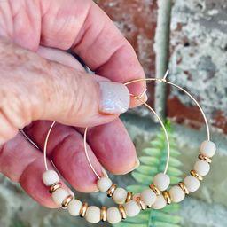 6mm Cream Wooden Bead Gold Hoop Earrings   Etsy   Etsy (US)