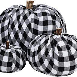 Package of 3 Assorted Burlap Pumpkins Fabric Pumpkins Buffalo Plaid Pumpkins Gingham Fabric Pumpk...   Amazon (US)
