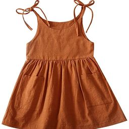 Amazon.com: IZYJOY Toddler Baby Girl Summer Cotton Linen White Dresses Bow Straps Sleeveless with... | Amazon (US)