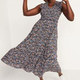 Fit & Flare Smocked Floral Maxi Dress for Women | Old Navy (US)