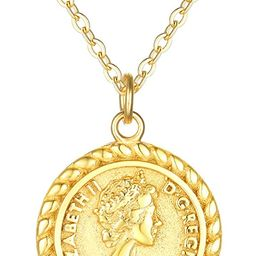VACRONA Coin Necklace 18k Gold Plated Vintage Textured Medallion Coin Pendant Round Circle Disk Dain | Amazon (US)
