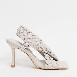 ASOS DESIGN Nock woven cross strap heeled sandals in off white | ASOS (Global)