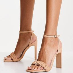 RAID Waverly ruched heeled sandal in beige | ASOS (Global)