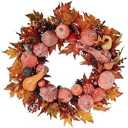 Nearly Natural 4648 Harvest Wreath Fall, 28-Inch   Amazon (US)