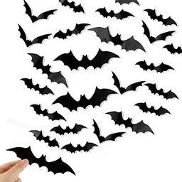 DIYASY Bats Wall Decor,120 Pcs 3D Bat Halloween Decoration Stickers for Home Decor 4 Size Waterpr... | Amazon (US)