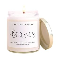 Sweet Water Decor Leaves Candle   Autumn, Cinnamon, Apple, Fall Scented Soy Candles for Home   9o...   Amazon (US)
