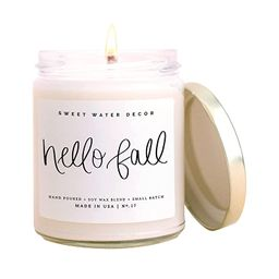 Sweet Water Decor Hello Fall Candle | Cinnamon, Apples, and Clove Autumn Scented Soy Candles for ... | Amazon (US)