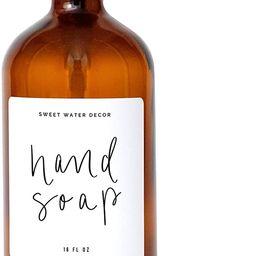 Sweet Water Decor Amber Glass Jar Refill Soap Dispenser | Farmhouse, Hand Lettered, Waterproof La... | Amazon (US)