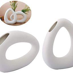 Anding White Ceramic Vase - Droplet Matte Surface Design - Modern Vase, Family, Wedding, Table Va... | Amazon (US)