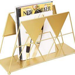 MyGift Modern Geometric Gold-Tone Metal Desktop Magazine Holder Rack | Amazon (US)