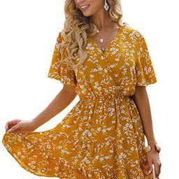 Romwe Women's Short Sleeve V Neck All Over Print High Waist A Line Summer Short Dress   Amazon (US)