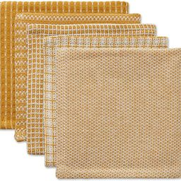 DII Everyday Kitchen Collection Assorted Dishcloth Set, 12x12, Honey Gold 5 Piece | Amazon (US)