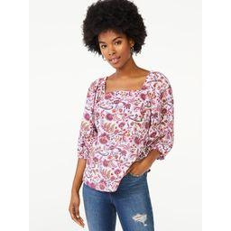 Scoop Women's Square Neck Top with Balloon Sleeves | Walmart (US)