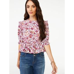 Scoop Women's Printed Peplum Top with Short Sleeves | Walmart (US)