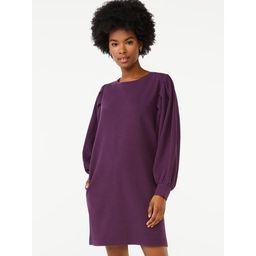 Scoop Women's Puff Sleeve Sweatshirt Dress | Walmart (US)