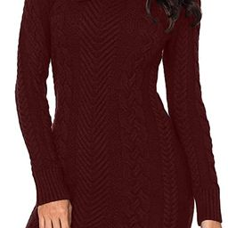 BLENCOT Womens Turtleneck Long Sleeve Elasticity Chunky Cable Knit Pullover Sweaters Jumper with ... | Amazon (US)