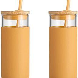 tronco 20oz Glass Tumbler Straw Silicone Protective Sleeve Bamboo Lid - BPA Free | Amazon (US)