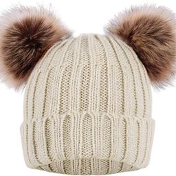 Arctic Paw Cable Knit Beanie with Faux Fur Pompom Ears   Amazon (US)
