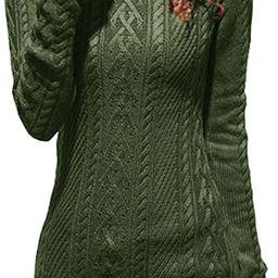 v28 Women Polo Neck Turtleneck Knit Stretchable Elasticity Long Slim Sweater | Amazon (US)