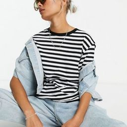 Weekday Alanis organic cotton stripe t-shirt in black and white | ASOS (Global)