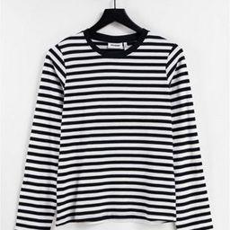 Weekday Alanis organic cotton long sleeve stripe t-shirt in black and white | ASOS (Global)