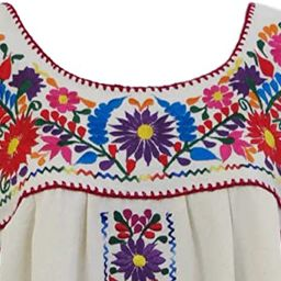Mexican Embroidered Dress Bella Natural Beige   Amazon (US)