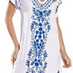Bsubseach Women Embroidery Short Sleeve Bikini Swimsuit Cover Up Side Split Beach Kaftan Dress   Amazon (US)
