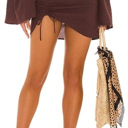 X REVOLVE Mini Ruched Skirt in Cocoa   Revolve Clothing (Global)