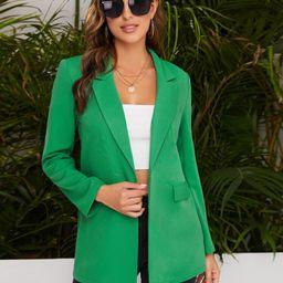 SHEIN Peak Collar Flap Detail Solid Blazer | SHEIN