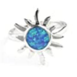 Solar Opal Ring, Sterling Silver Sun Ring, 925, Lab Opal, Blue Opal, Boho Ring, Gypsy, Festival Jewe | Amazon (US)
