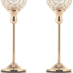 VINCIGANT Gold Crystal Candle Holders Set of 2 for Fireplace Coffee Table Mantle Decor ,Wedding H...   Amazon (US)