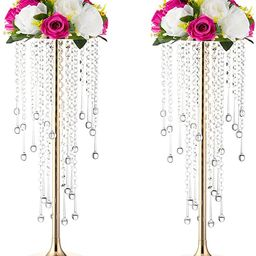 Wedding Center Stand, Golden Tall Metal Flower Candle Holder with Crystal 2-Piece Movable Lead Ro...   Amazon (US)