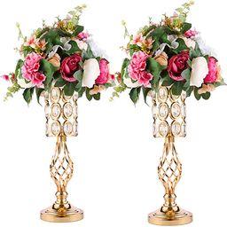 2pcs Metal Wedding Flower Trumpet Vase with Crystal Bead, Table Decorative Centerpiece Height Art...   Amazon (US)