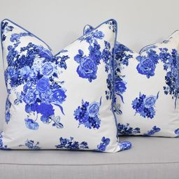 Chinoiserie floral pillow cover blue and white cushions | Etsy | Etsy (US)