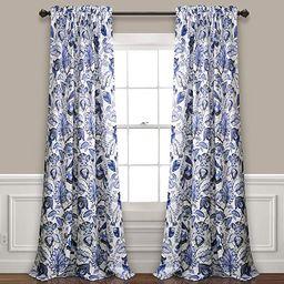 "Lush Decor Cynthia Jacobean Room Darkening Window Panel Curtain Set (Pair), 84"" L, Blue, 2 Count | Amazon (US)"