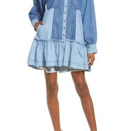 Sunburst Long Sleeve Chambray Mini Shirtdress | Nordstrom | Nordstrom