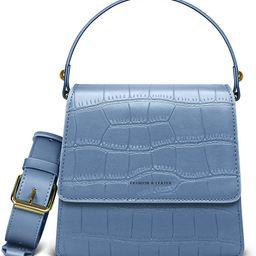 Small Crocodile Top Handle Vegan Leather Crossbody Bag for Women Mini Purse with Long Strap Satchel  | Amazon (US)