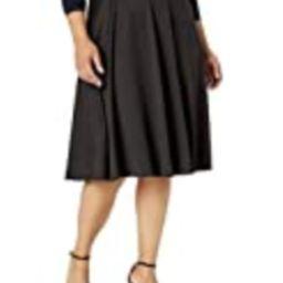 Star Vixen Women's Plus-Size Midi Full Skater Skirt, Black, 1X | Amazon (US)