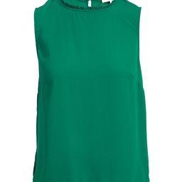 Minna Women's Blouses Forest - Forest Green Ruffle-Neck Sleeveless Top - Women & Plus | Zulily