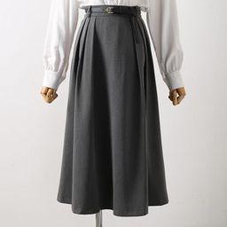 High-Waist Midi A-Line Skirt | YesStyle Global