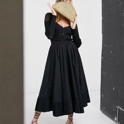 Ghospell full circle midi skirt with pleated hem-Black | ASOS (Global)