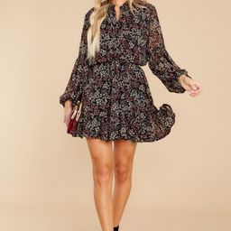 Nothing Forgotten Black And Merlot Floral Print Dress   Red Dress