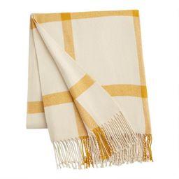 Ivory Windowpane Throw Blanket   World Market