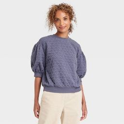 Women's 3/4 Sleeve Quilted Pullover Sweatshirt - A New Day™   Target
