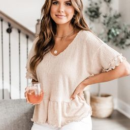 Reminiscing Yesterday Tan Peplum Knit Blouse | The Pink Lily Boutique