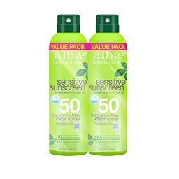 Alba Botanica Fragrance Free Broad Spectrum SPF 50 Sensitive Sunscreen Clear Spray, 6 oz (Pack of... | Amazon (US)